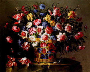 STILL LIFE OF VARIEGATED TULIPS, ROSES, ANEMONE, LOVE-IN-A MIST (NIGELLA), CORNFLOWERS, DAFFODILS AND OTHER FLOWERS