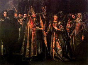El obispo de Asís entregando la palma a Santa Clara