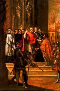 San Ambrosio negando al Emperador Teodosio la entrada al templo