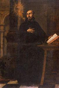 San Ignacio contemplando el monograma de la Compañía de Jesús