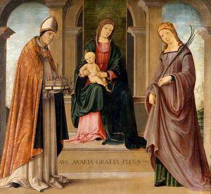 Madonna col Bambino in trono tra i santi Petronio e Tecla