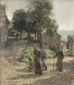 Paysans discutant à Mont Saint père