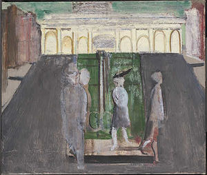 Untitled (four figures in a plaza) 1
