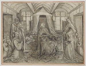 La Vierge et l'Enfant adorés dans un intérieur