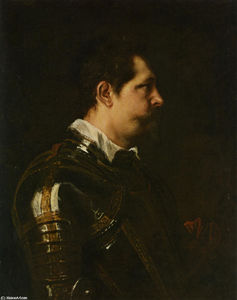 Portrait of a Military Commander bust length in Profile in Damascened armour with white collar and red sash