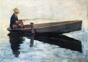 Boy in a Boat Fishing