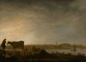 A View of Vianen with a Herdsman and Cattle by a River