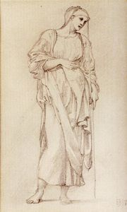 Study Of A Standing Female Figure Holding A Staff