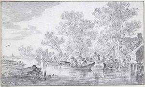 River scene with cottage among trees and boats by a little wharf