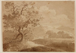 Large Trees in Foreground, Two Figures, House, lake and Mountains