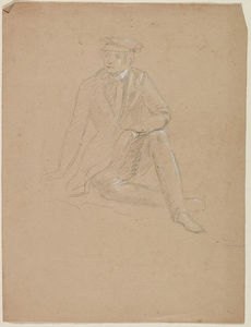 Seated Male Figure in a Yachting Cap