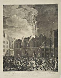 The conflagration of the Masonic Hall Chestnut Street Philadelphia