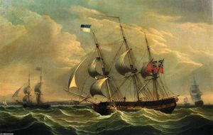 Full Rigged Ships and a Brig off the Coast of England