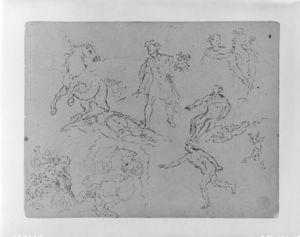 Figure Sketches, Including Pegasus and Perseus with Head of Medusa; (Rape of Persephoney)