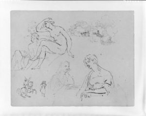 Study of Clouds; Two Female Nudes (after Michelangelo; Two Half-length Female Portraits; Equestrian Figure with Two Men