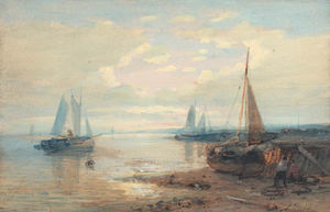 A Coastal Landscape With Moored Sailing Barges