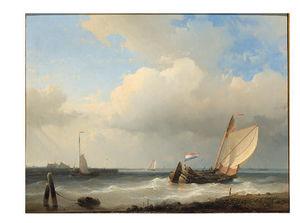 A Dutch Schouw Tacking Off On A River Estuary In A Breeze