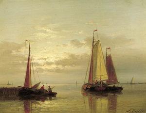 Sailing Vessels Near A Jetty At Dusk