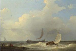 Sailingvessels In A Stiff Breeze Of The Coast