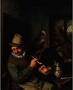 A Peasant Lighting A Pipe In An Inn, Cardplayers In The Background