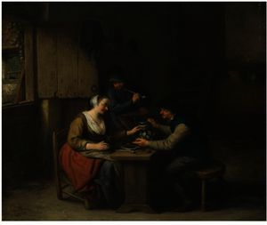 A Tavern Interior With Two Boors Seated At A Table Drinking, A Third Standing Behind Smoking A Pipe