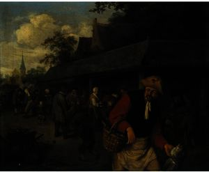 Market Stalls, With A Fisherman In The Foreground