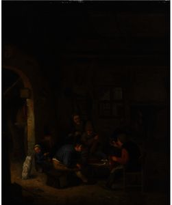 Peasants In An Inn Smoking And Drinking, A Little Girl Feeding A Dog To The Left