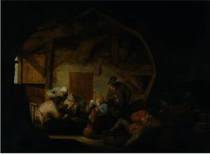 The Interior Of A Barn With Peasants Playing Cards Around A Stool