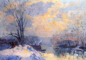 The Small Branch of the Seine at Bas Meudon, Snow and Sunlight