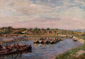 Idle Barges on the Loing Canal at Saint-Mammes