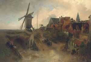 A windmill in a storm