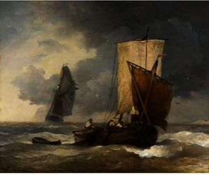 FISHING BOATS IN STORMY SEAS
