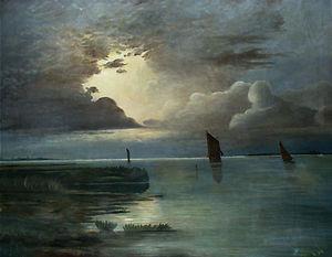 Sonnenuntergang am Meer mit aufziehendem Gewitter
