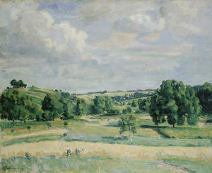 Landscape. Harvest-time in the Somme Valley