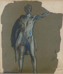 Un homme nu avec draperie sur l épaule droite et son bras gauche tendu
