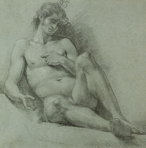 A seated male nude seen from the front