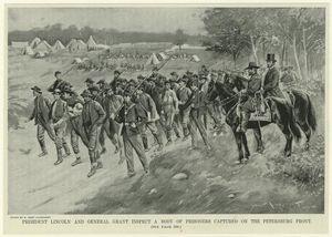 il presidente lincoln e il generale grant ispezionare un corpo di prigionieri catturati sul fronte pietroburgo