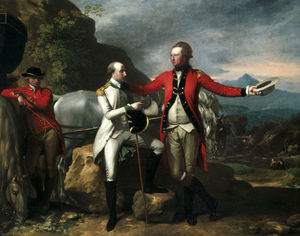 Two Officers and a Groom in a Landscape