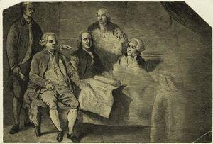 Olio unfinished studio di il 1783 Trattato di parigi