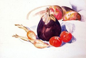 Eggplant, carrots, and tomatoes