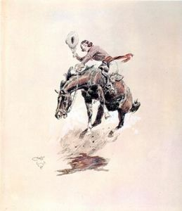 Bucking Horse and Cowgirl