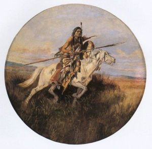 Indian on White Horse with Spear