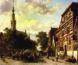 A Busy Market in Veere with the Clocktower of the Town Hall Beyond