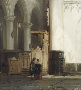 Church interior with an elegant couple