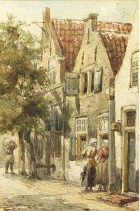 Figures conversing in a street, Monnickendam
