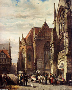 Many Figures On The Market Square In Front Of The Martinikirche, Braunschweig