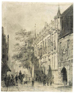 The Townhall at Kampen with Figures in a Street