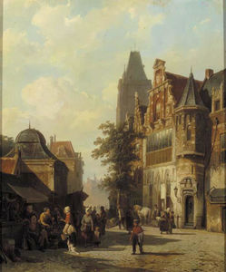 Townsfolk gathered around market stalls, a capriccio view of Woerden's cityhall in the background