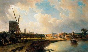 Vista de La Haya desde el canal a Delft en el siglo XVII