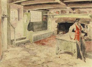 Interior--Man in Red Vest